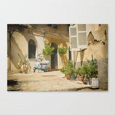 Corfu Street Scooter Canvas Print