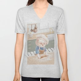 Cat In Chef Hat Rolling Dough at Kitchen Unisex V-Neck