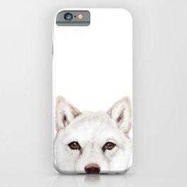 shiba inu white Dog original painting print iPhone Case