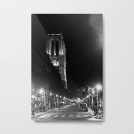 A View Looking Down the Rue D'Arcole at Notre Dame Cathedral, Paris, France Metal Print