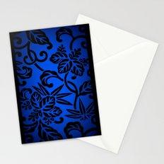 Deep Blue Japanese Flowers Stationery Cards