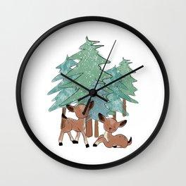 Little Deers In A Winter Landscape Wall Clock