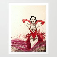 burlesque Art Prints featuring Burlesque  by Rachael Withers