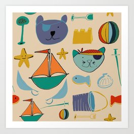 cat and bear pirate at the beach cream Art Print
