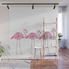 Flamingo - Pink Bird - Animal On White Background Wall Mural