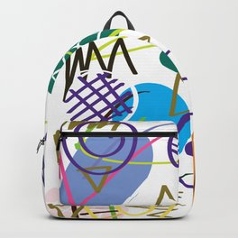 Drawing illustration abstract pen marks.Doodle background with semicircle pattern.No.14 Backpack
