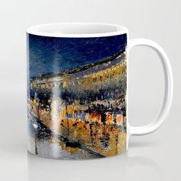 The Boulevard Montmartre At Night : Camille Pissarro Coffee Mug