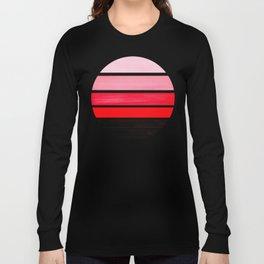 Red Mid Century Modern Minimalist Circle Round Photo Staggered Sunset Geometric Stripe Design Long Sleeve T-shirt