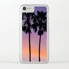 Purple Palms Clear iPhone Case