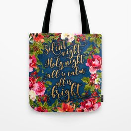 Silent night, pink florals and calligraphy Tote Bag