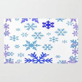 BLUE & PURPLE WINTER SNOWFLAKES ART ABSTRACT Rug