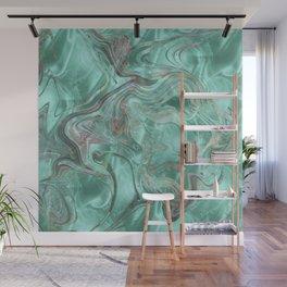 Mint Gem Green Marble Swirl Wall Mural