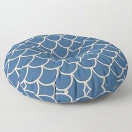 Blue & Beige Fish Scales Pattern Floor Pillow