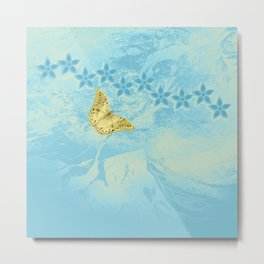 butterfly and flowers in an abstract blue grunge landscape Metal Print
