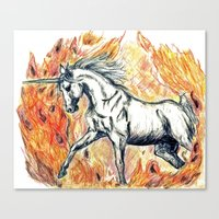unicorn Canvas Prints featuring Unicorn by Stephanie Stonato