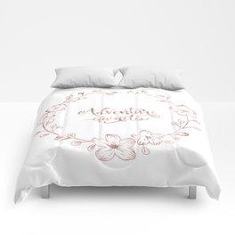 Rose Gold Handlettering Floral Wreath Design: Adventure Awaits Comforters