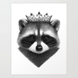 King raccoon Art Print