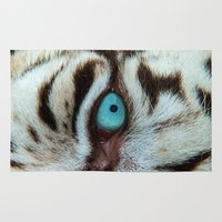 andreas preis Area & Throw Rugs featuring WHITE TIGER BEAUTY by Catspaws