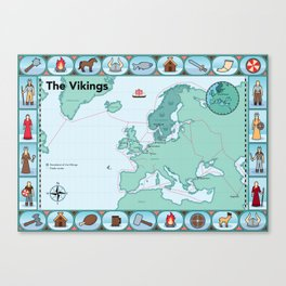 Illustrated map of the Vikings Canvas Print