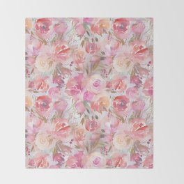 Blush pink lilac hand painted watercolor roses floral Throw Blanket