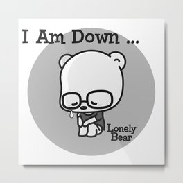 Lonely Bear is Down Metal Print