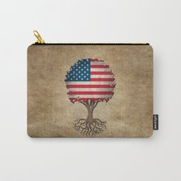 Vintage Tree of Life with Flag of The United States Carry-All Pouch
