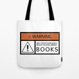 WARNING: Books Tote Bag