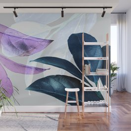 Blue Violet Leaves Wall Mural