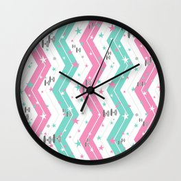 Tie Fighters and Chevrons in Pink and Pool Wall Clock