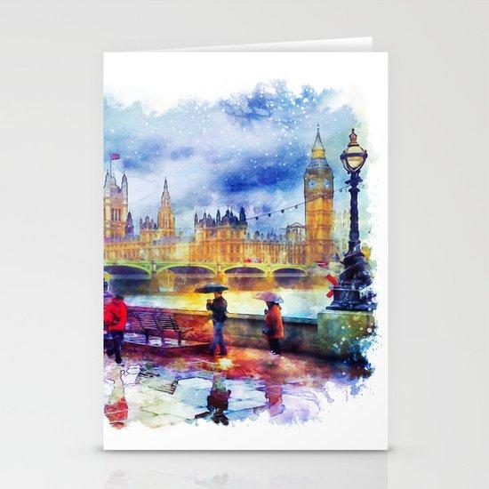 London Rain watercolor by marianvoicu