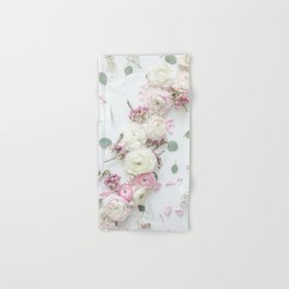SPRING FLOWERS WHITE & PINK Hand & Bath Towel