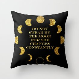 Moon Phases Gold Throw Pillow