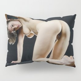 8288s-KMA Nude Art Model on Knees Looking Back Feet Crossed Arm Up Pillow Sham