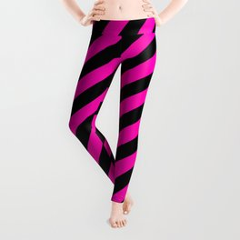 Bright Hot Neon Pink and Black Candy Cane Stripes Leggings