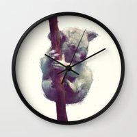 koala Wall Clocks featuring Koala by Amy Hamilton