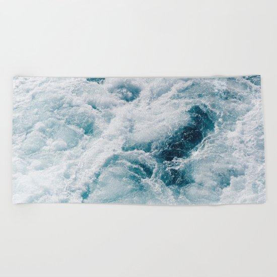 sea - midnight blue storm Beach Towel