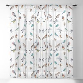 I love birds Sheer Curtain
