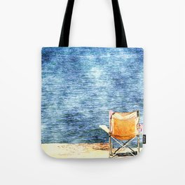 Summer holiday relaxing in the sun, digital art watercolor Tote Bag