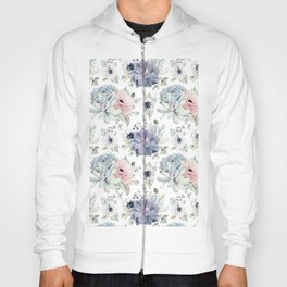 Succulents Blue + Rose Pink on White Hoody