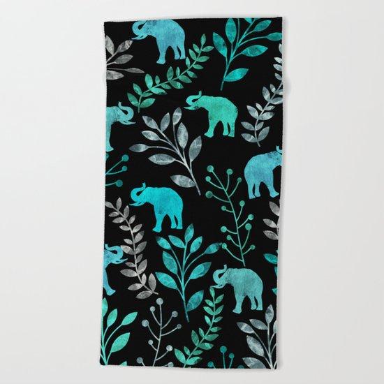 Watercolor Flowers & Elephants IV Beach Towel
