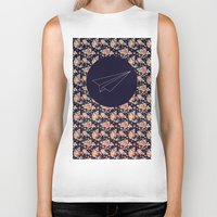 plane Biker Tanks featuring FLORAL PLANE by MGNFQ
