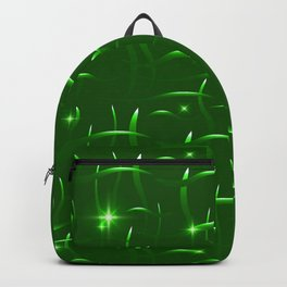 Glowing green stems with highlights on a grassy background. Backpack