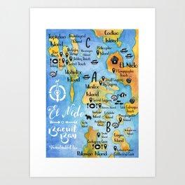 El Nido Bay Map, Palawan Island, the Philippines Art Print