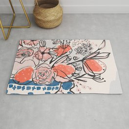 Oranges and Pink Peony Bouquet in Dutch Delft Blue Vase Rug