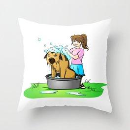 bath day Throw Pillow