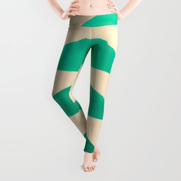 Colorful Turquoise Green Geometric Pattern with Black Accent Leggings