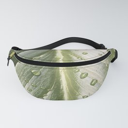 Green Leaf Detail with Rain Drops Fanny Pack