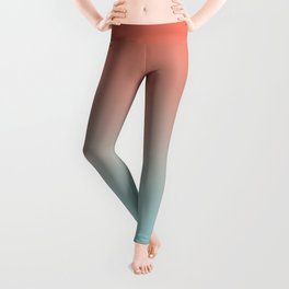 Pantone Living Coral & Limpet Shell Gradient Ombre Blend, Soft Horizontal Line Leggings