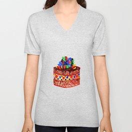 Tasty choco cake in watercolor Unisex V-Neck