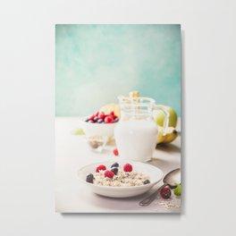 Oatmeal porridge with fresh berries, fruits and almond milk. Metal Print
